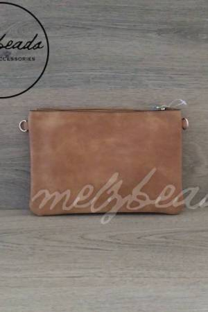 Brown Sand Leather Clutch Pattern Shoulder Bag