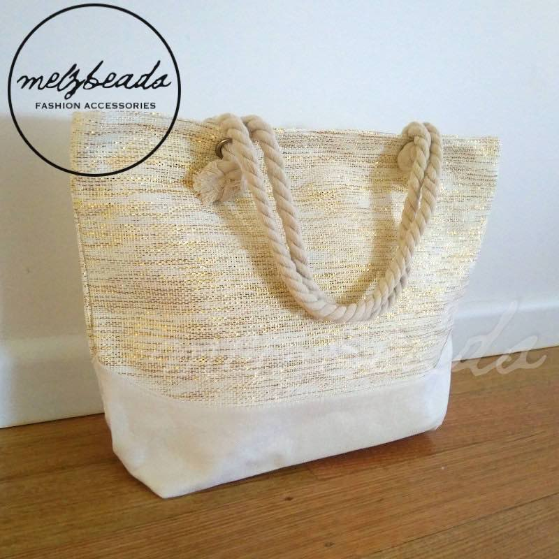 Large Natural Gold Shopping Beach Bag