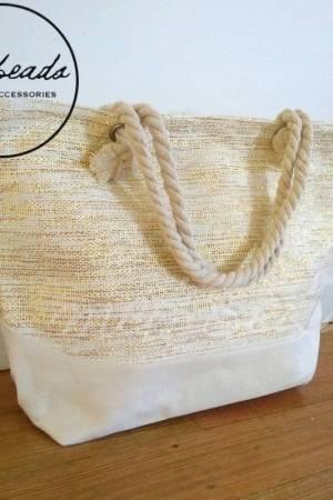 Large Natural Gold Shopping Beach Bag