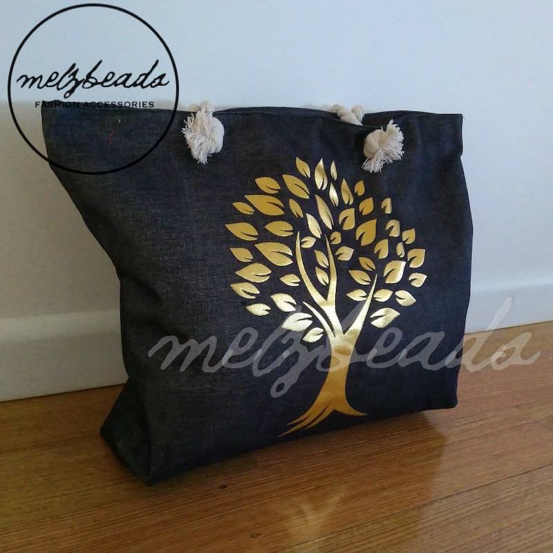 Large Black Gold Tree Shopping Beach Bag