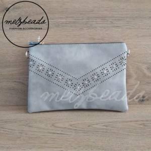 Grey Leather Clutch Pattern Shoulder Bag