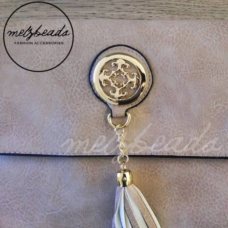 Beige Leather Clutch Shoulder Bag with Tassel