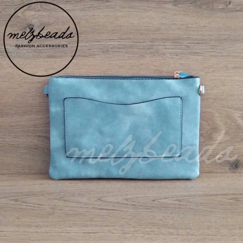 Teal Leather Clutch Pattern Shoulder Bag