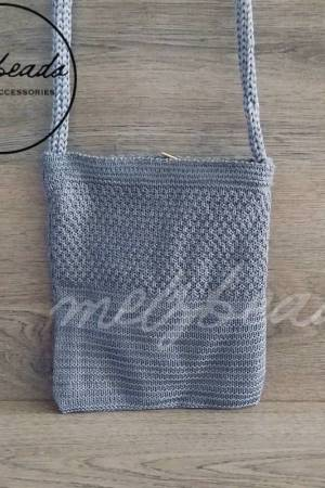 Grey Crochet Crossover Bag