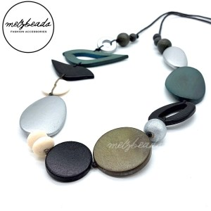 Silver Grey Black Tone Bird Oval Wooden Beads Necklace