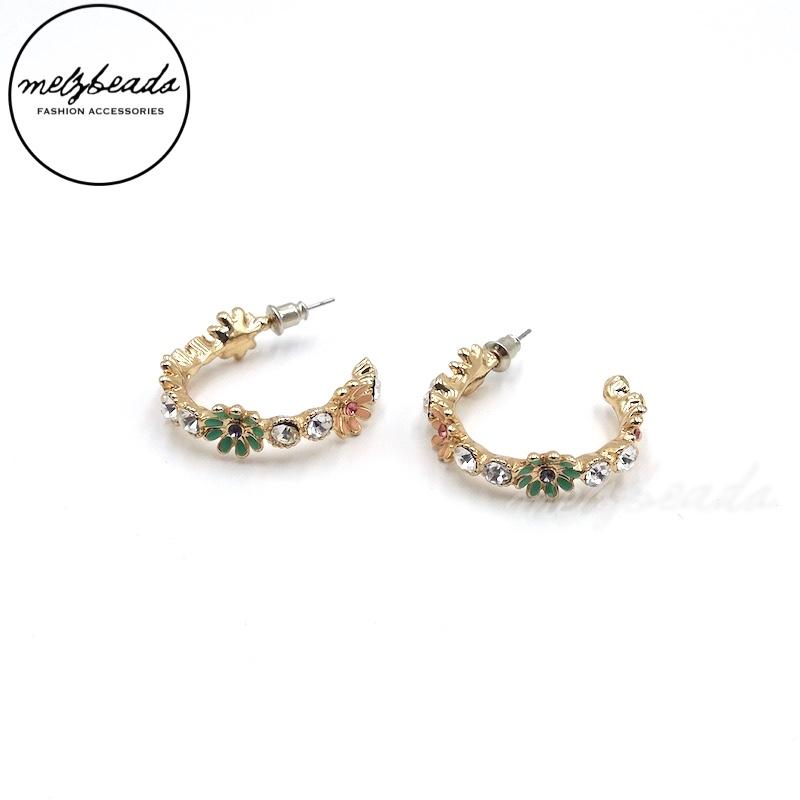 Vintage Hoop Flower Earrings