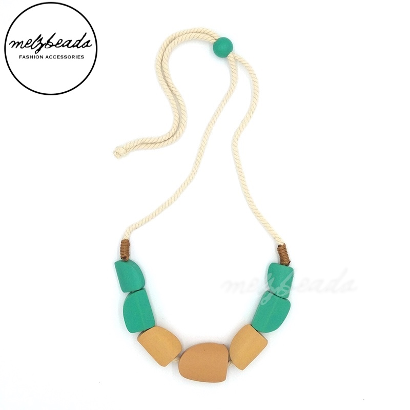 Cala Turquoise Wooden Bead Necklace