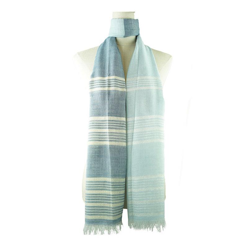 Blue Striped Shimmer Scarf