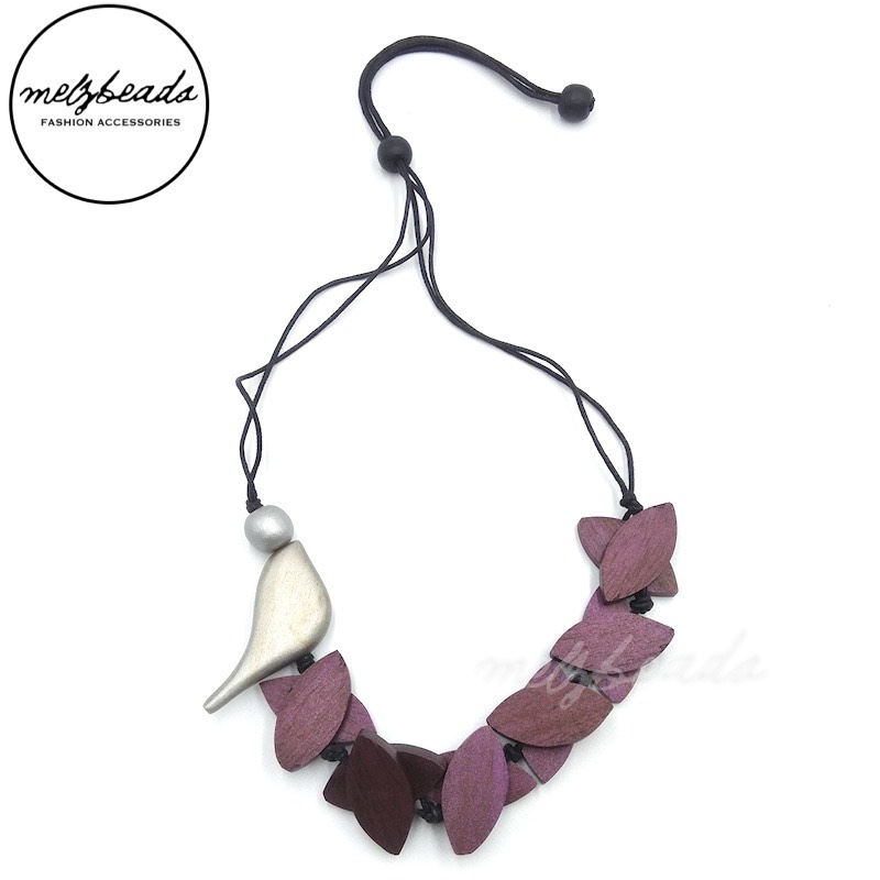 Plum Purple Leaves Silver Bird Wooden Necklace