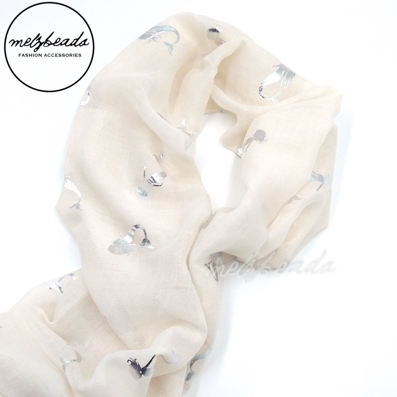 Silver Mermaid Pattern Beige Scarf