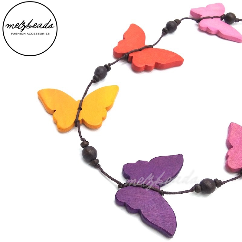 Wooden Purple Multi-Colour Butterfly Necklace