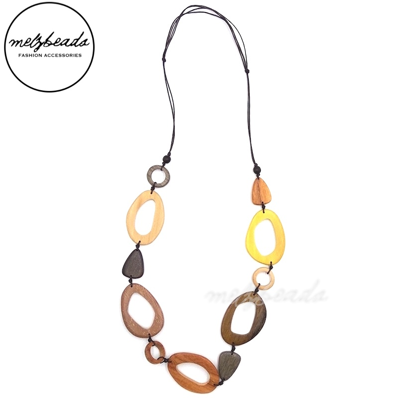 Natural Tone Mix Bead Wooden Necklace