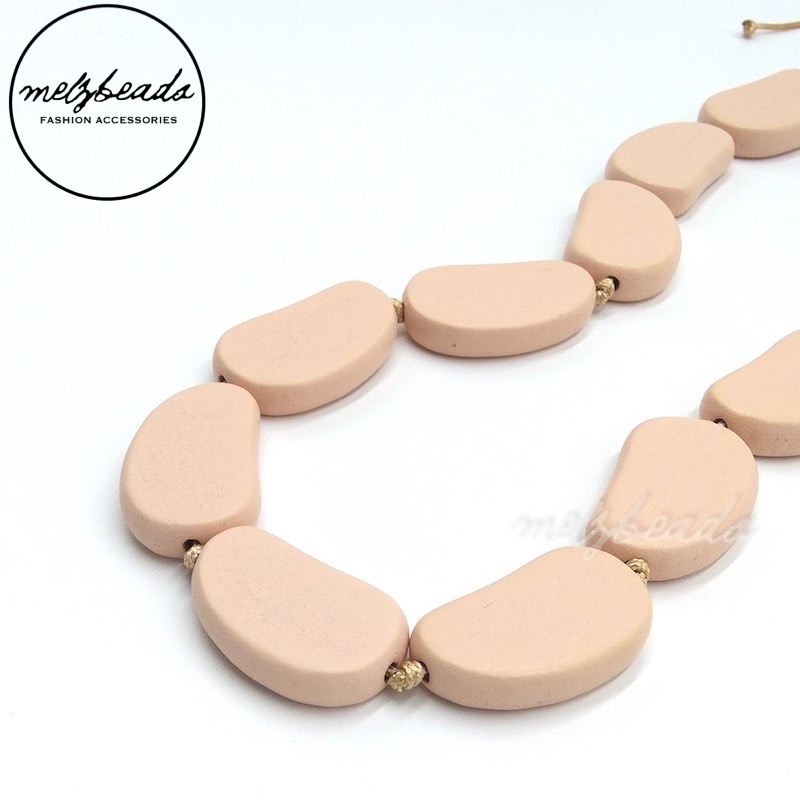 Wooden Bead Light Pastel Pink Necklace