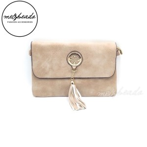 Beige Leather Clutch Shoulder Bag with Tassel- Rosella