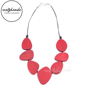 Wooden Red Leaves Wooden Necklace