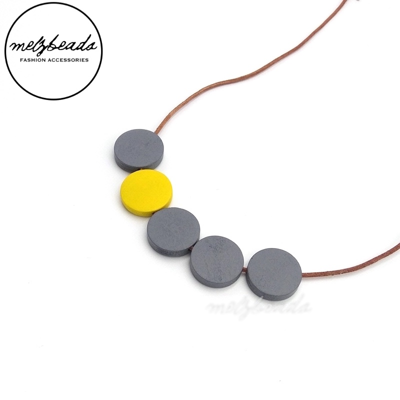 Yellow Grey Flat Wooden Disc Bead Necklace