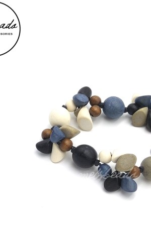 Blue Grey Wooden Confetti Necklace