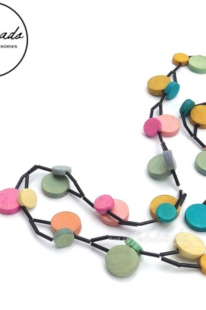 Pastel Multi-Coloured Round Wooden Bead Necklace