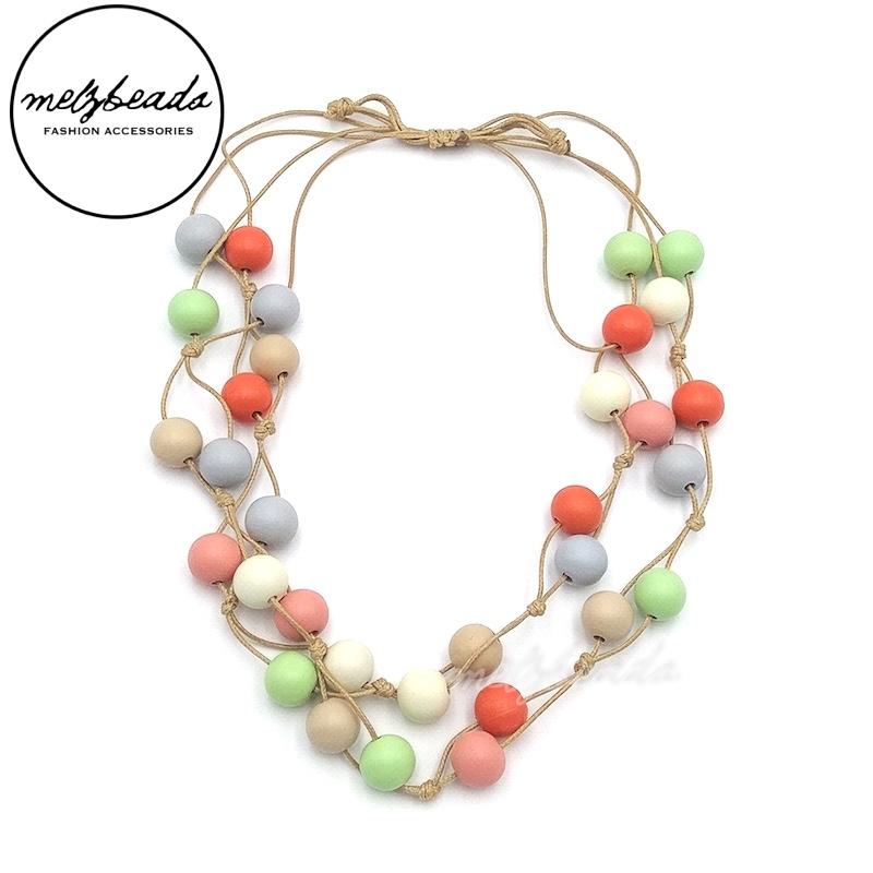 Pastel Multi-Colour Wooden Bead Necklace