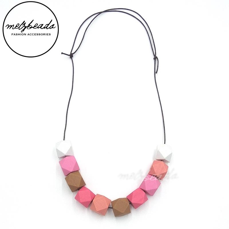 Pastel Geometric Wooden Bead Necklace