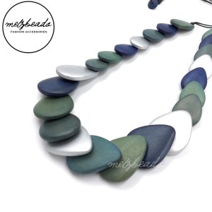 Blue Multi Leaves Wooden Necklace