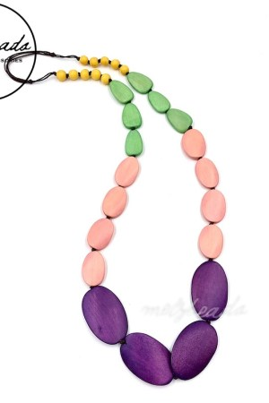Purple Pink Large Oval Wooden Necklace