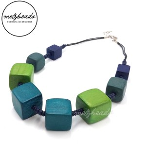 Green Chunky Cube Geometric Wooden Necklace