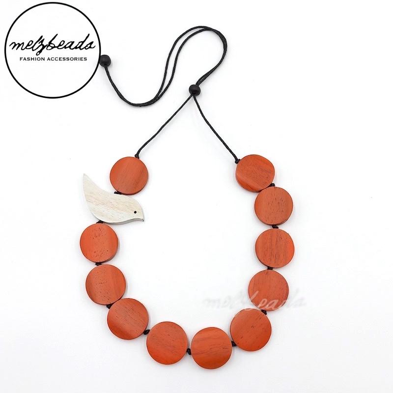 Orange bird necklace