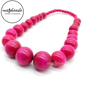 Large Pink Chunky Wooden Necklace