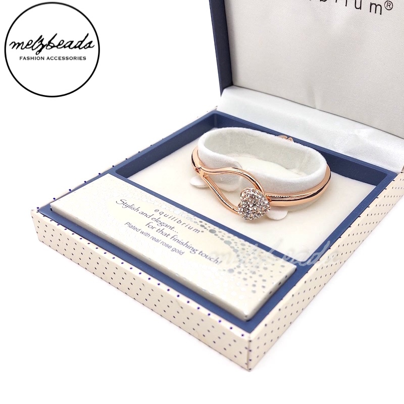 Equilibrium Rose Gold Diamante Heart Clasp Bangle