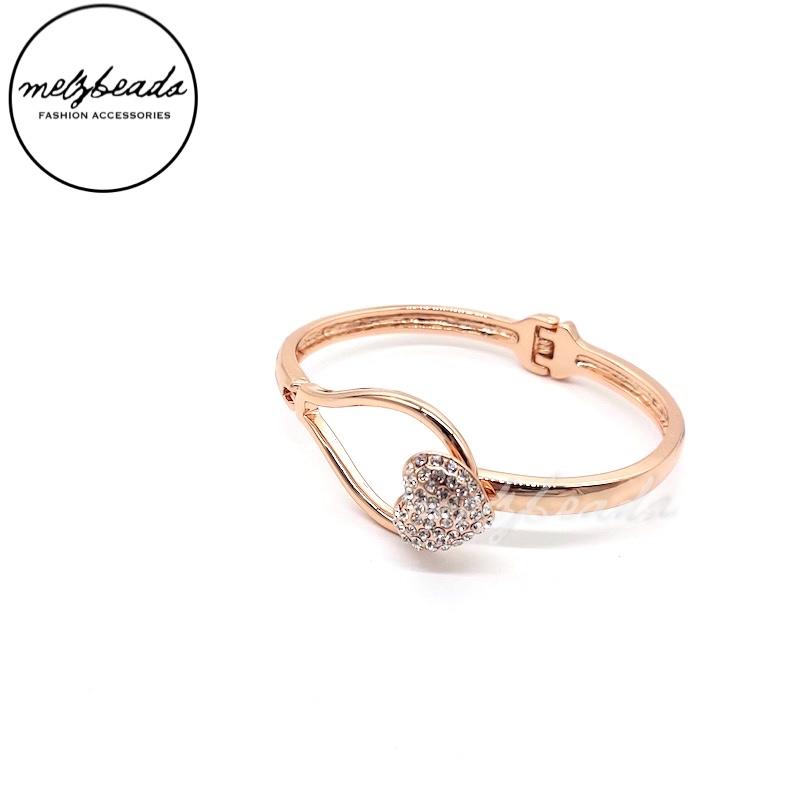 Equilibrium Rose Gold Diamante Heart Clasp Bangle