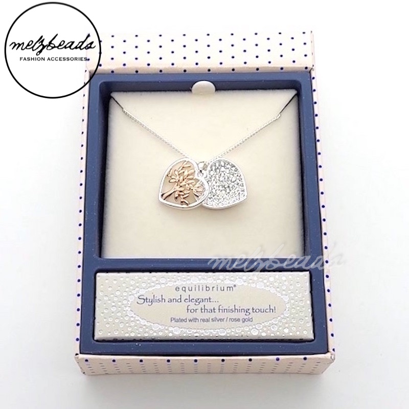 Equilibrium Tree of Life Heart Sparkle Necklace Silver/Rose Gold Plated