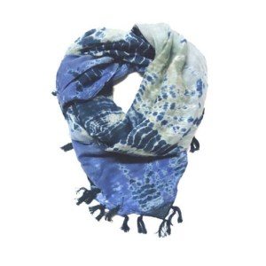 Blue Square Scarf with Tassels