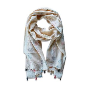 Beige Peach Cotton Scarf with Embroidery