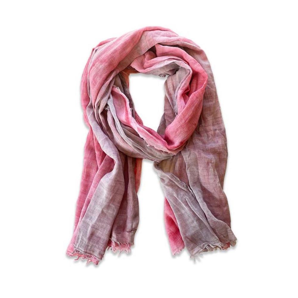 Pink Grey Cotton Scarf