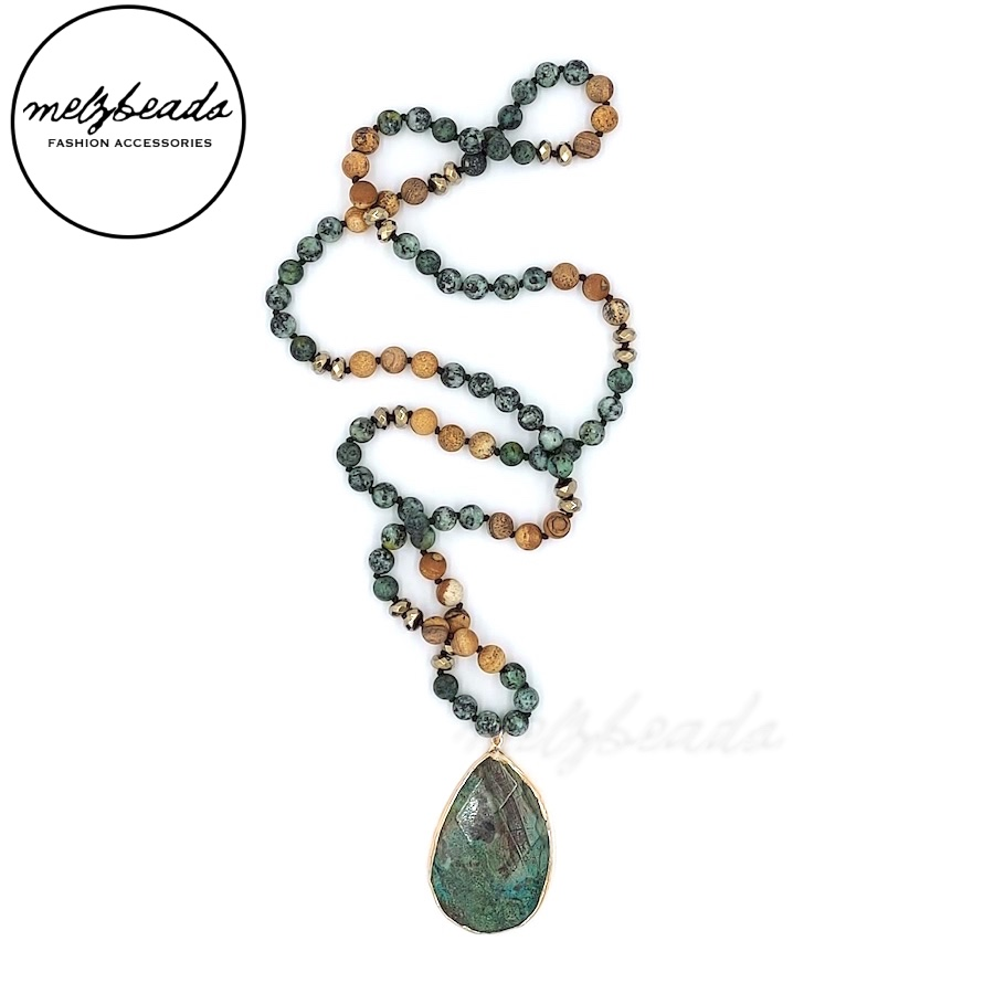 Long Boho Knotted Necklace with Teardrop Stone Pendant
