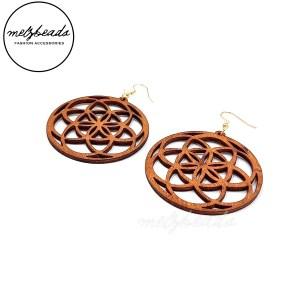 Mandala Natural Large Circle Wooden Earrings