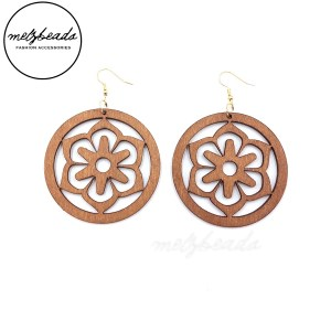 Natural Large Circle Wooden Flower Earrings