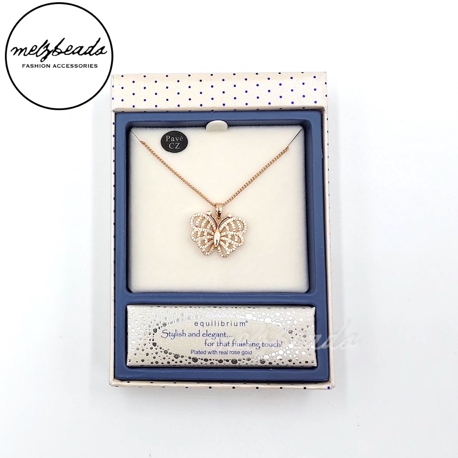 Equilibrium Silver/Rose Gold Butterfly Necklace
