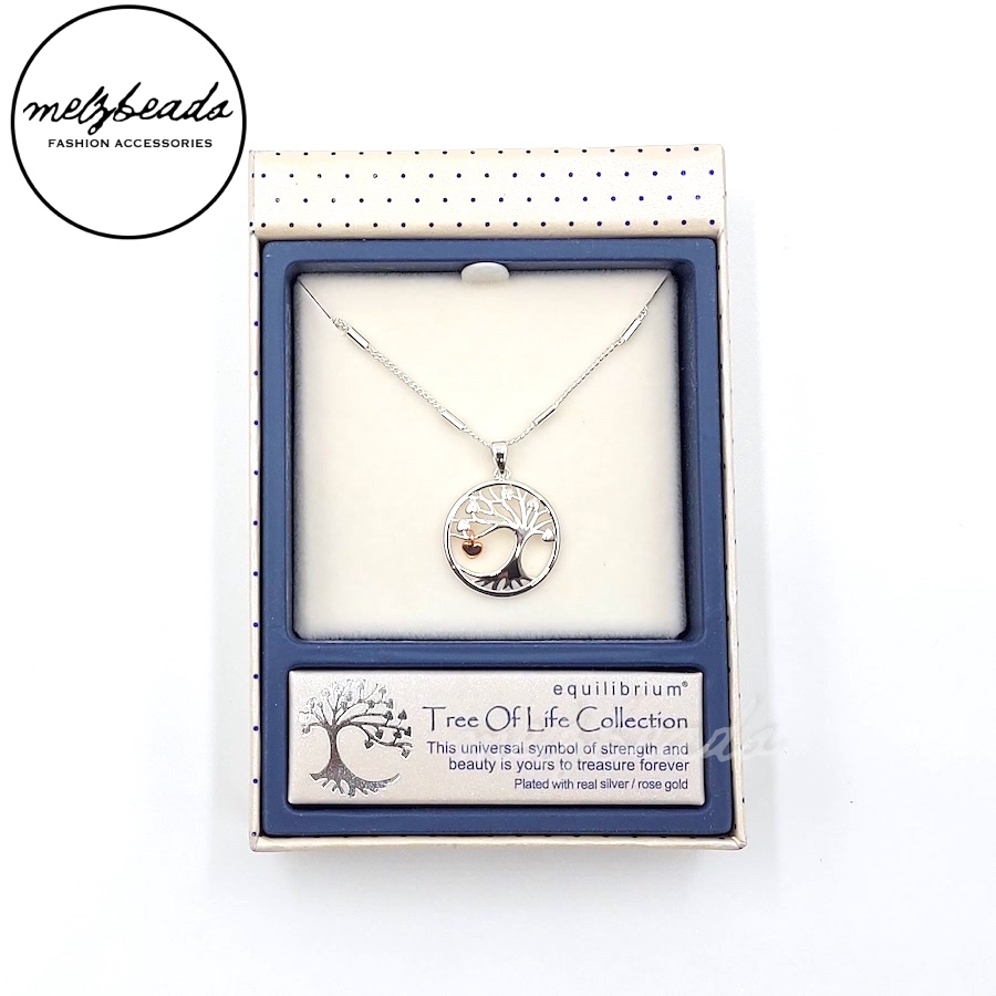 Equilibrium Dual Tone Tree of Life Pendant Necklace in Silver