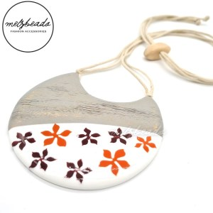 Mix Flower Resin Wooden Necklace