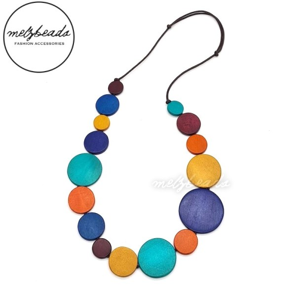 Multi Coloured Circle Beaded Wooden Necklace