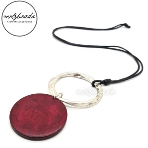 Wine Red Wooden Disk Silver Pendant Necklace