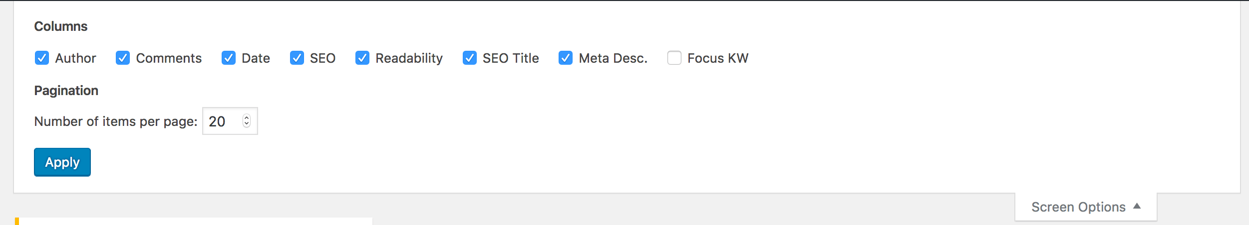 Missing Options