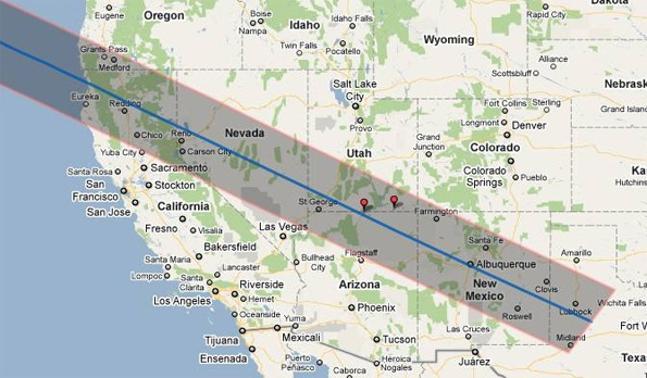 Path of solar eclipse, May 2012
