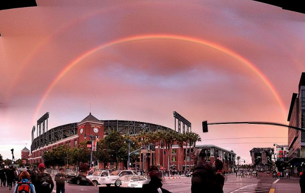Double Rainbow over San Francisco's Baseball Stadium September 2012