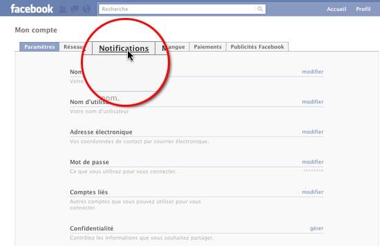 rubrique notifications facebook