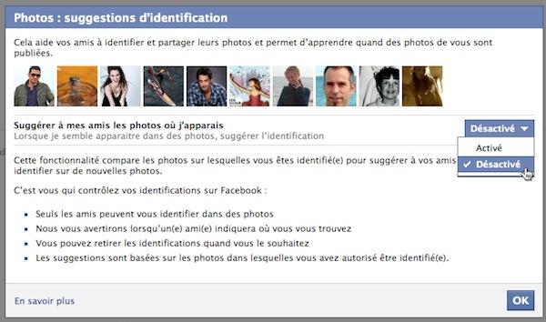 interdire reconnaissance automatique visages facebook