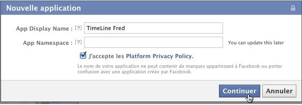 parametres nouvelle application facebook