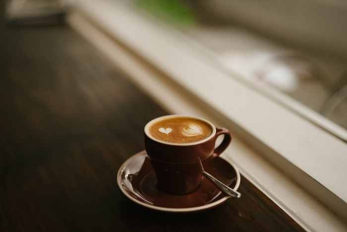 Coffee on window pane.